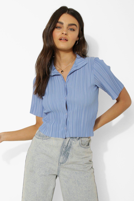 80s Tops, Shirts, T-shirts, Blouse Womens Short Sleeve Plisse Crop Shirt - Blue - 12 $18.00 AT vintagedancer.com