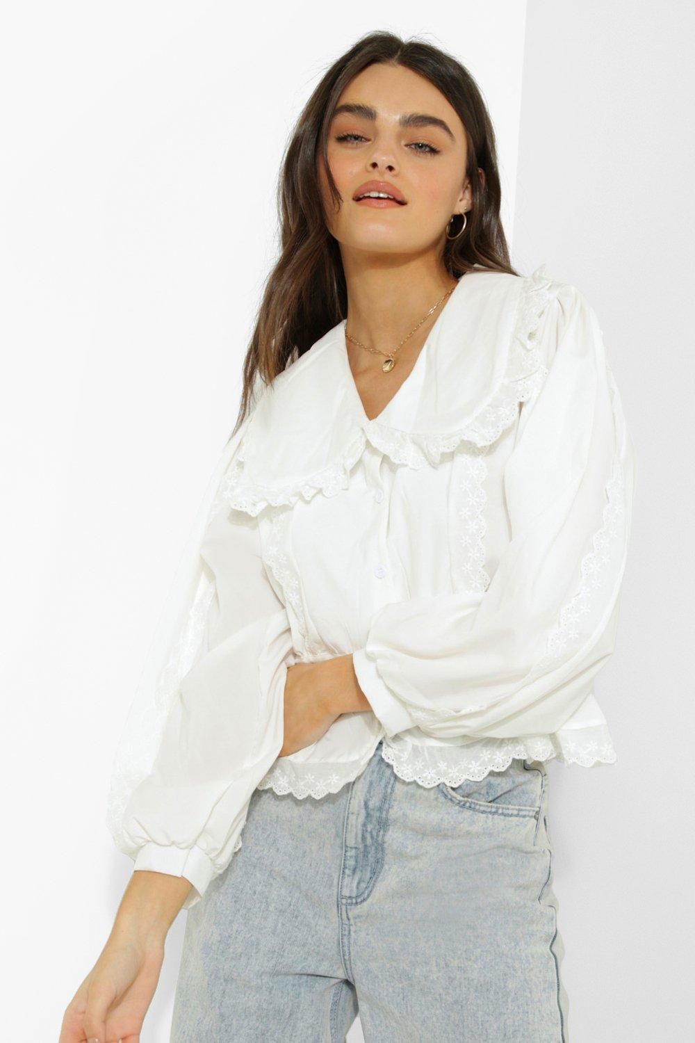 1980s Clothing, Fashion | 80s Style Clothes Womens Ruffle Detail Lace Trim Blouse - White - M $20.00 AT vintagedancer.com