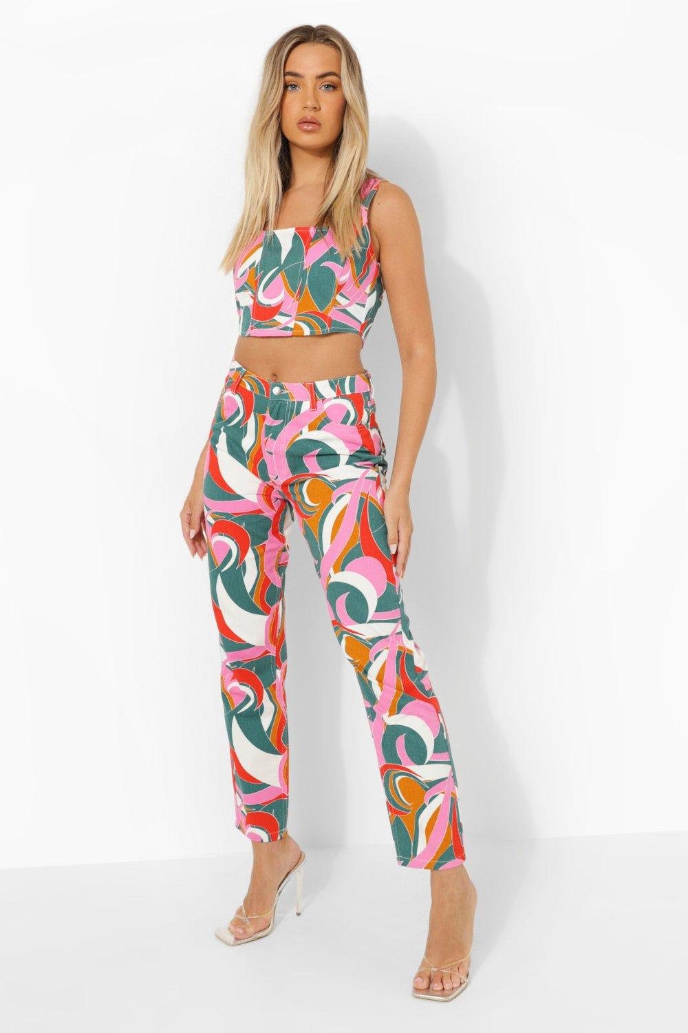 60s Pants, Jeans, Hippie, Flares, Jumpsuits Womens Abstract Printed Boyfriend Jeans - Multi - 12 $31.50 AT vintagedancer.com
