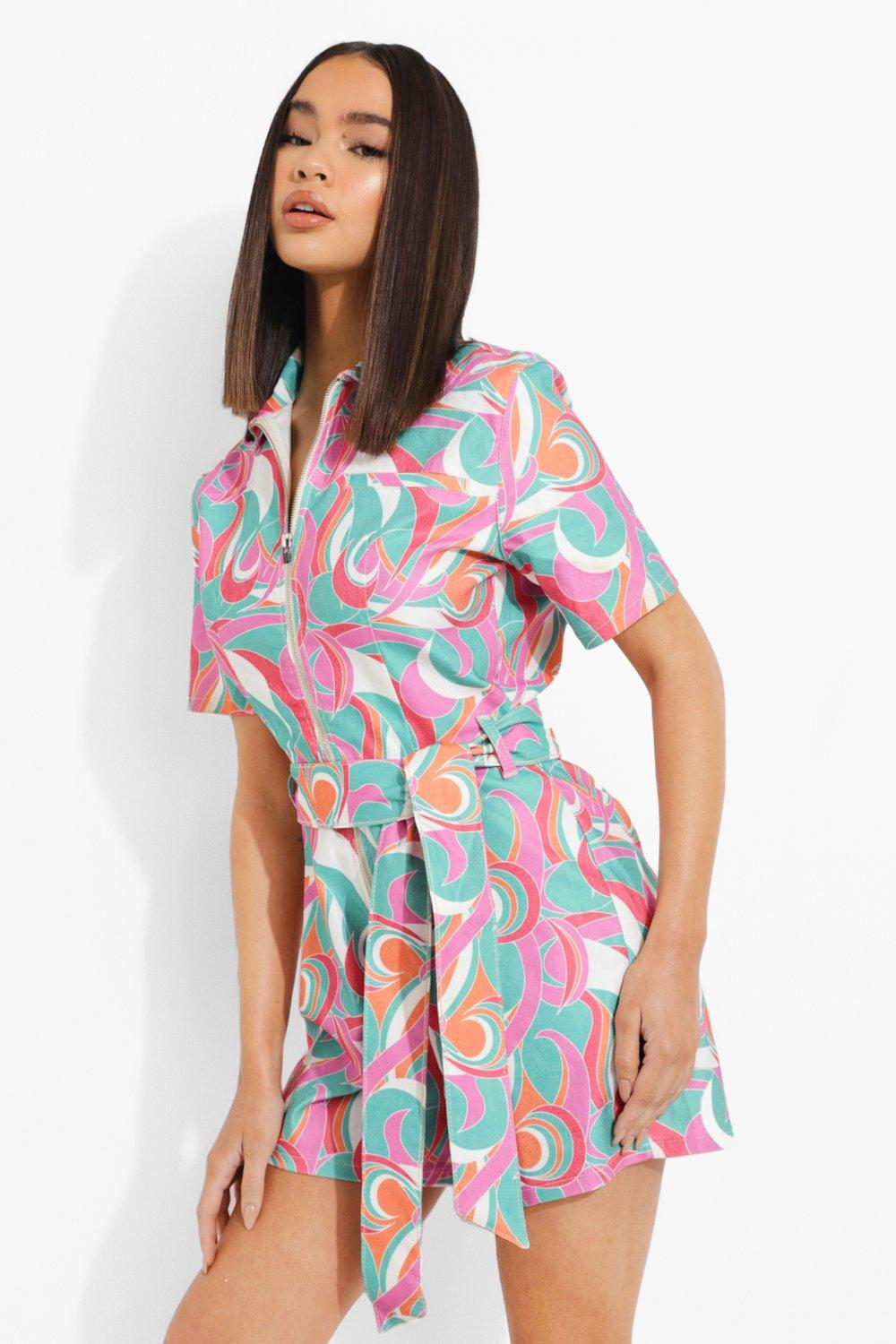 1960s Style Clothing & 60s Fashion Womens Abstract Print Denim Romper - Multi - 12 $36.00 AT vintagedancer.com