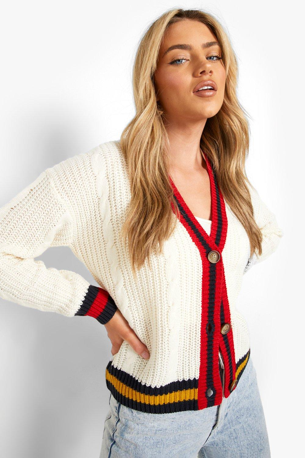 90s Clothing Outfits You Can Buy Now Womens Cable Cropped Varsity Stripe Cardigan - Cream - M $16.00 AT vintagedancer.com