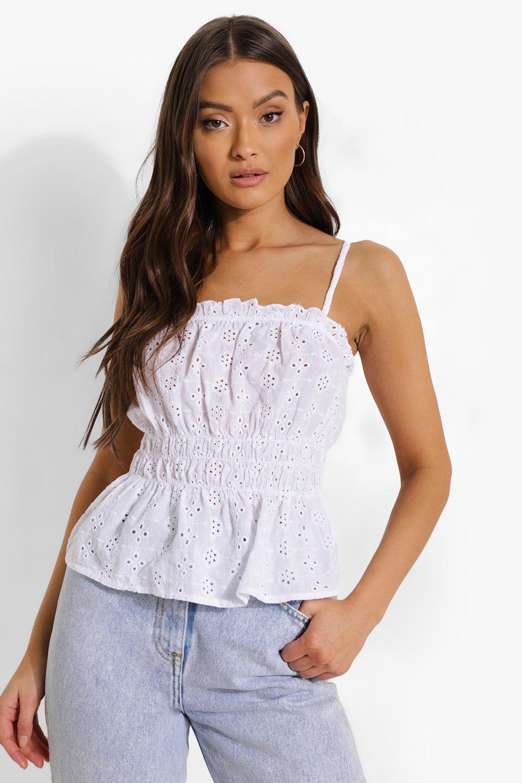 Vintage Lingerie   New Underwear, Bras, Slips Womens Eyelet Camisole - White - 12 $14.40 AT vintagedancer.com