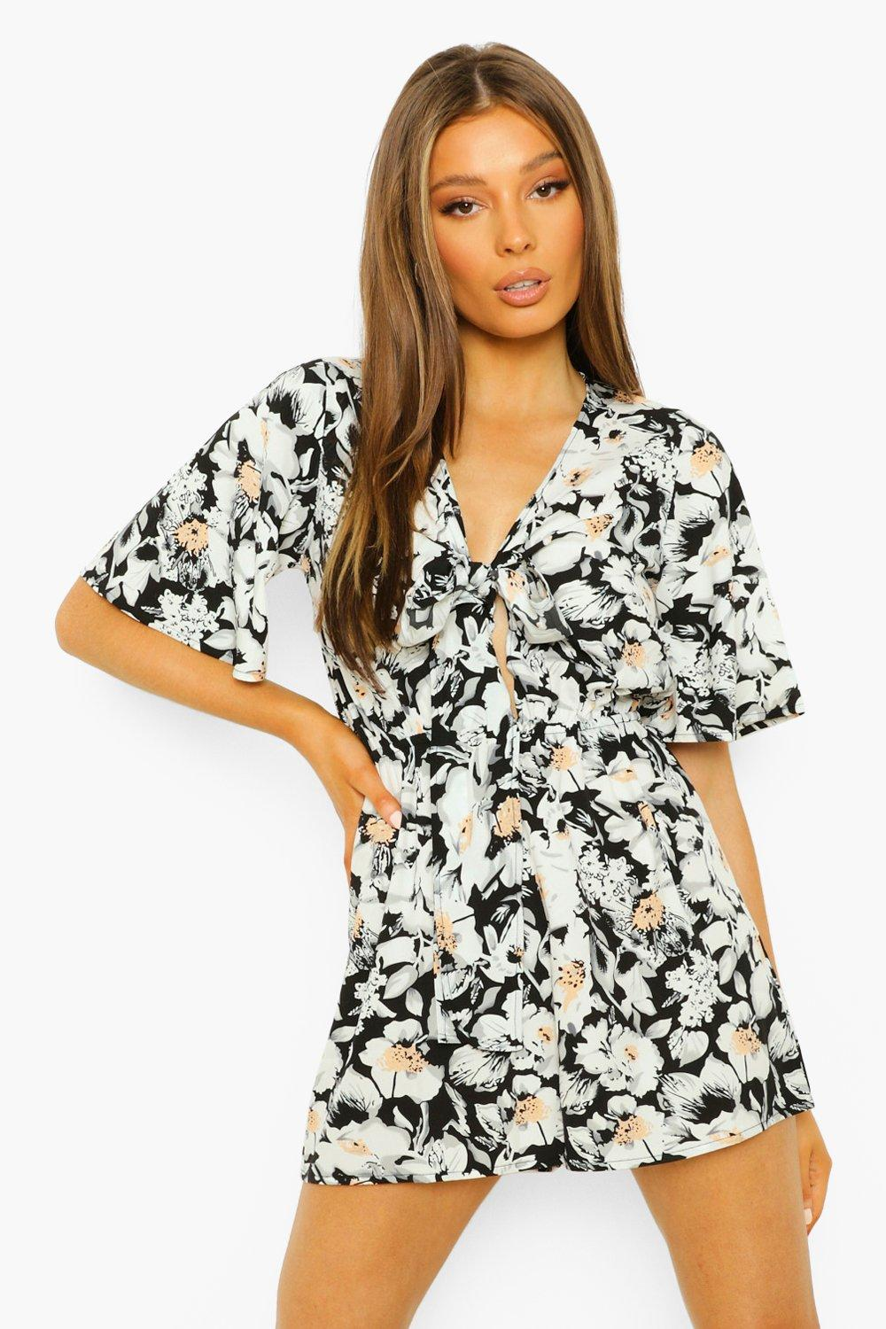 1930s Style Clothing and Fashion Womens Floral Tie Detail Romper - Black - 12 $14.40 AT vintagedancer.com
