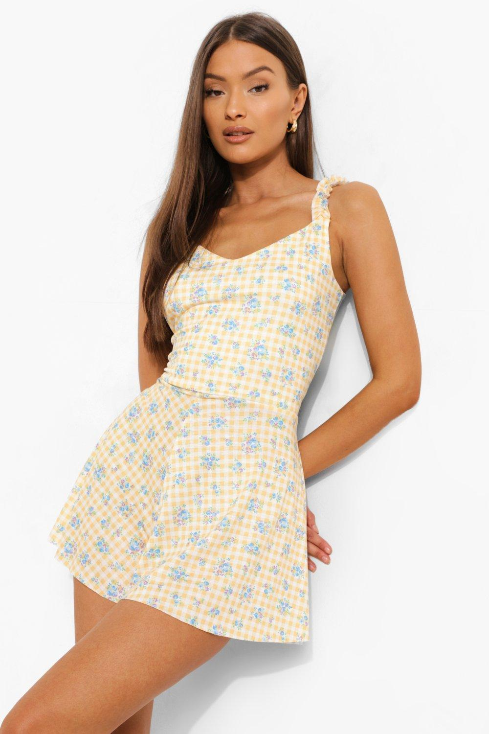 40s-50s Vintage Playsuits, Jumpsuits, Rompers History Womens Gingham Floral Frill Strap Flippy Romper - Yellow - 12 $14.40 AT vintagedancer.com