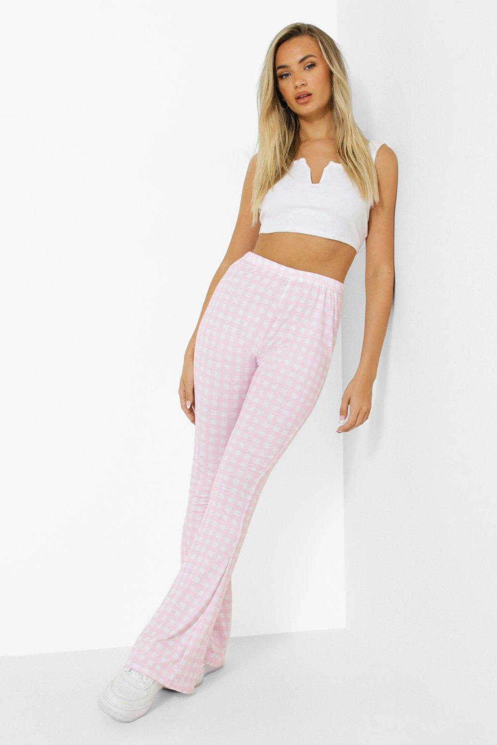 1960s Pants – Top 10 Styles for Women Womens Gingham Flare Jersey Pants - Pink - 12 $12.80 AT vintagedancer.com