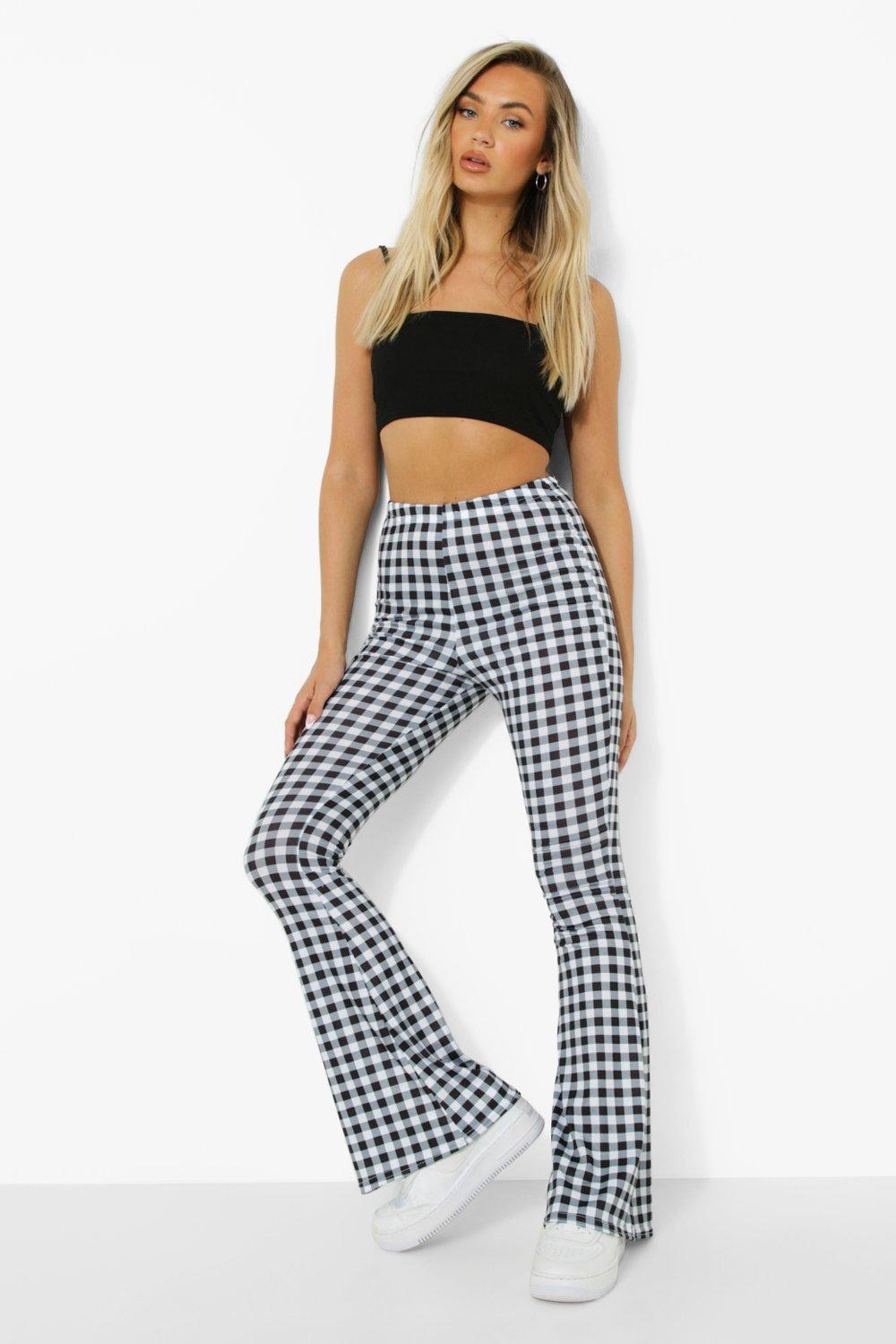 1960s Pants – Top 10 Styles for Women Womens Gingham Flare Jersey Pants - Black - 12 $12.80 AT vintagedancer.com