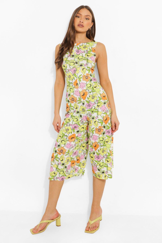 1960s Pants – Top 10 Styles for Women Womens Floral Print Scoop Back Culotte Jumpsuit - White - 12 $14.40 AT vintagedancer.com