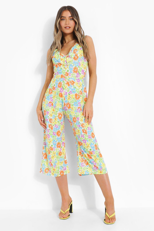 1960s Pants – Top 10 Styles for Women Womens Neon Floral Cross Back Culotte Jumpsuit - White - 14 $16.00 AT vintagedancer.com