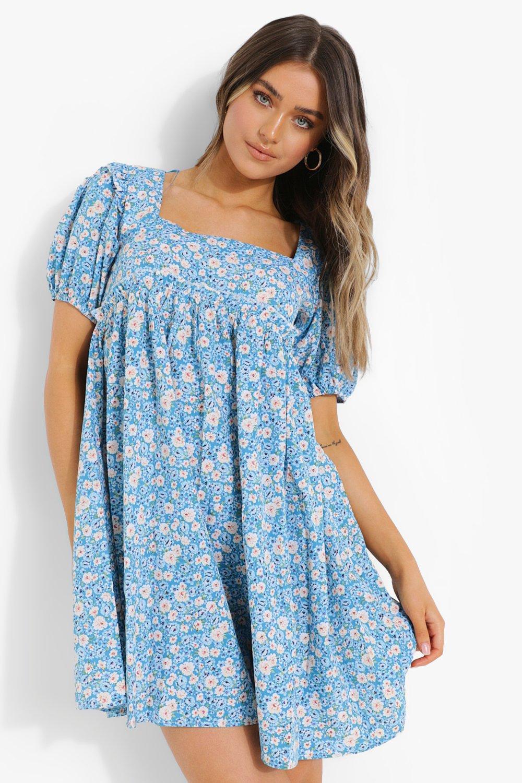 70s Dresses – Disco Dress, Hippie Dress, Wrap Dress Womens Floral Print Square Neck Smock Dress - Blue - 12 $20.00 AT vintagedancer.com