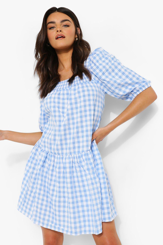 Cottagecore Clothing, Soft Aesthetic Womens Gingham Square Neck Smock Dress - Blue - 12 $20.00 AT vintagedancer.com