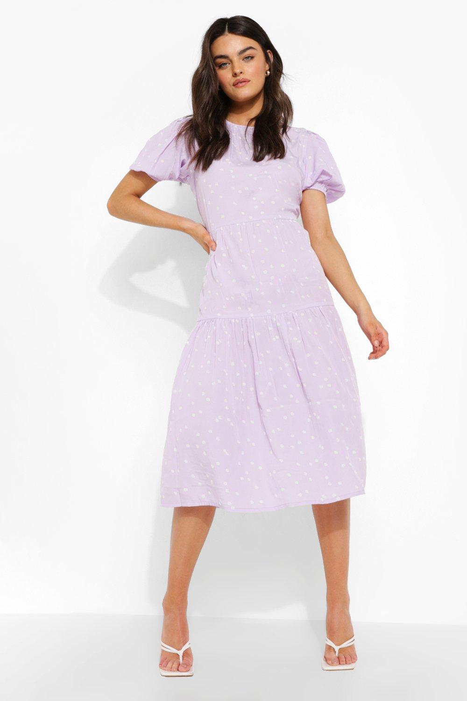 80s Dresses | Casual to Party Dresses Womens Polka Dot Short Sleeve Midi Smock Dress - Purple - 8 $24.00 AT vintagedancer.com