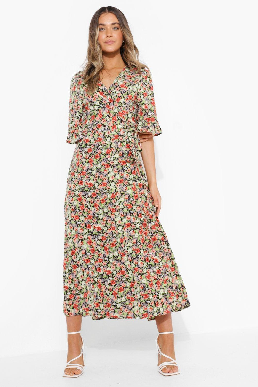 1980s Clothing, Fashion | 80s Style Clothes Womens Floral Wrap Fron Tmidi Dress - Black - M $24.00 AT vintagedancer.com