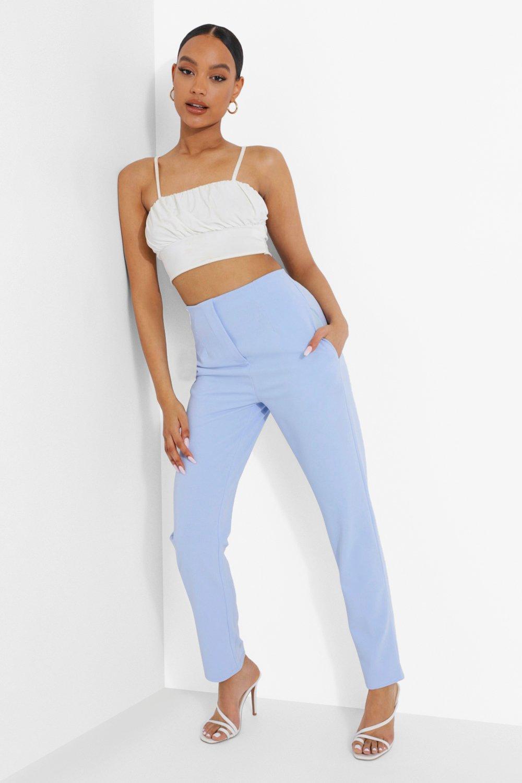 1960s Pants – Top 10 Styles for Women Womens Tailored Seam Detail Crepe Slim Pants - Blue - 12 $14.40 AT vintagedancer.com
