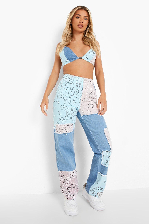 80s Jeans, Pants, Leggings | 90s Jeans Womens Bandana Patchwork Boyfriend Jeans - Blue - 12 $28.80 AT vintagedancer.com
