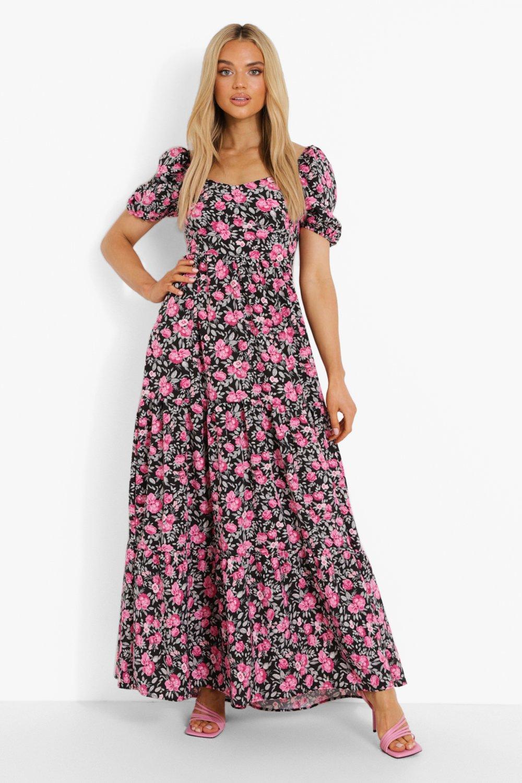 Vintage Style Dresses | Vintage Inspired Dresses Womens Puff Sleeve Tiered Maxi Dress - Black - 10 $16.00 AT vintagedancer.com