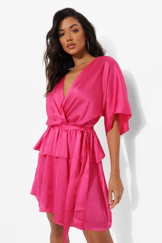 Vintage Style Dresses | Vintage Inspired Dresses Womens Satin Volume Short Sleeve Belted Skater Dress - Pink - 14 $20.00 AT vintagedancer.com