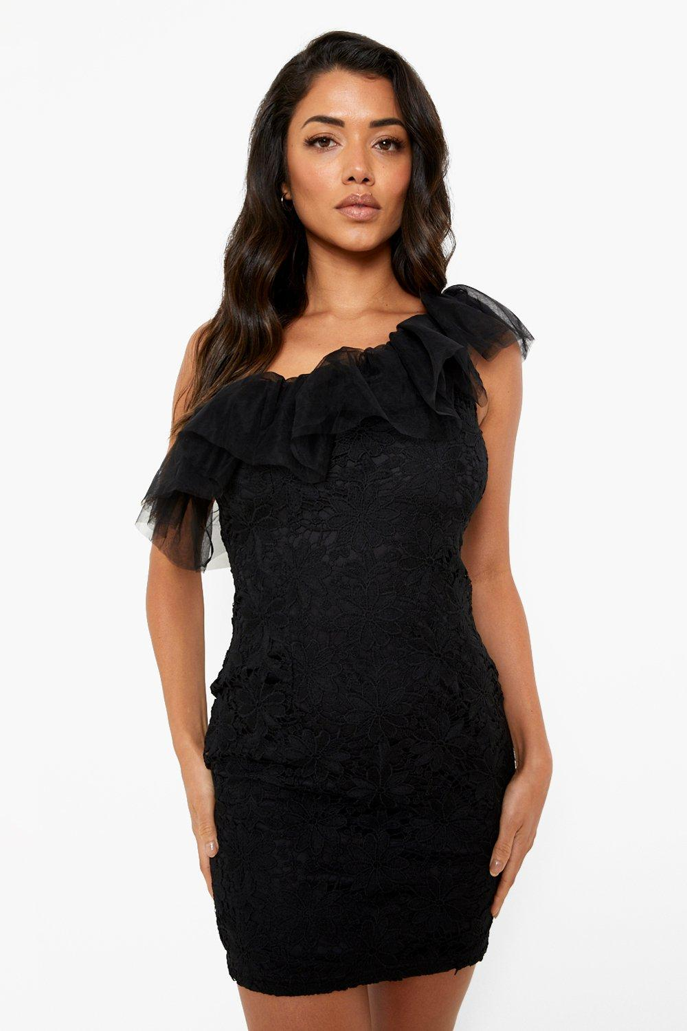 80s Dresses | Casual to Party Dresses Womens One Shoulder Lace Ruffle Mini Dress - Black - 10 $24.00 AT vintagedancer.com