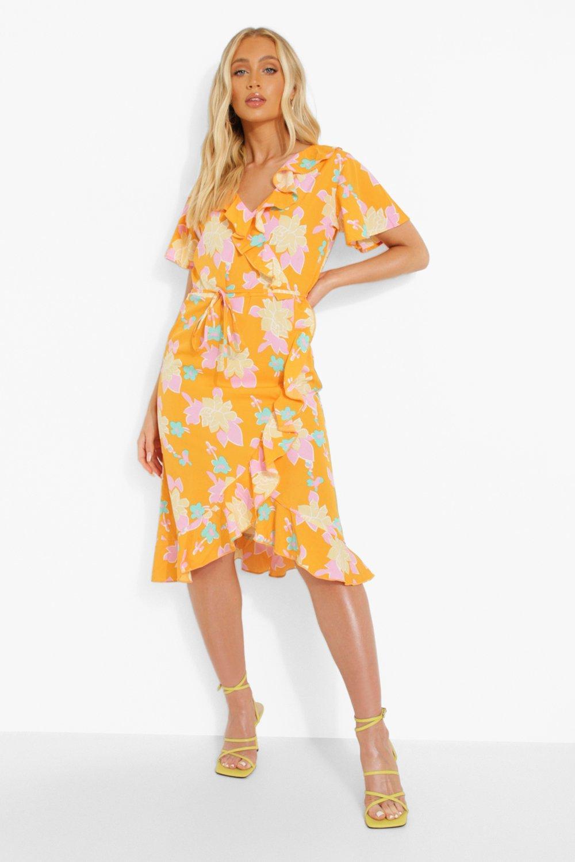 Vintage Style Dresses | Vintage Inspired Dresses Womens Woven Floral Print Ruffle Midi Dress - Orange - 6 $14.40 AT vintagedancer.com