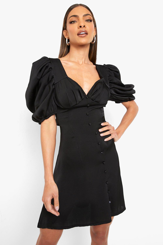 Vintage Style Dresses | Vintage Inspired Dresses Womens Satin Buton Up Puff Sleeve Skater Dress - Black - 16 $24.00 AT vintagedancer.com