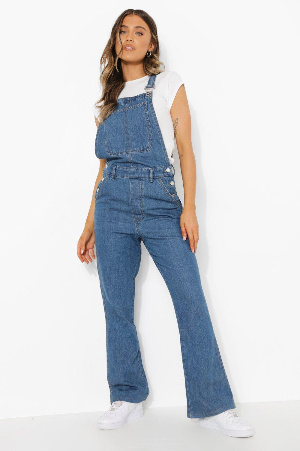 1980s Clothing, Fashion | 80s Style Clothes Womens Flared Denim Dungaree - Blue - 12 $24.00 AT vintagedancer.com