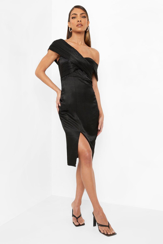 80s Prom Dresses – Party, Cocktail, Bridesmaid, Formal Womens One Shoulder Midi Bridesmaid Dress - Black - 14 $32.00 AT vintagedancer.com