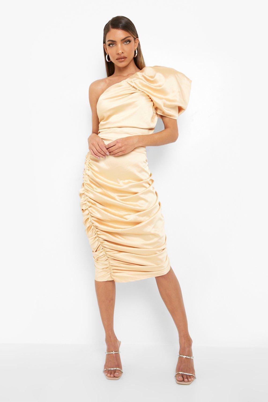 Vintage Style Dresses | Vintage Inspired Dresses Womens Gathered One Shoulder Mini Dress - Beige - 10 $36.00 AT vintagedancer.com