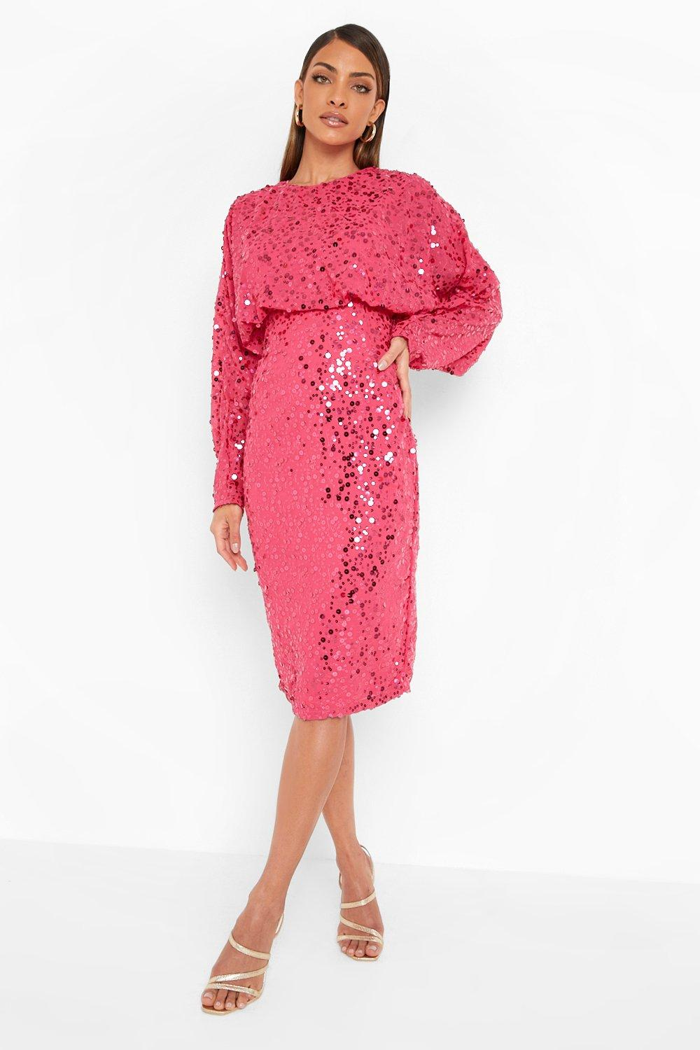 1980s Clothing, Fashion | 80s Style Clothes Womens Sequin Batwing Midi Dress - Pink - 12 $40.00 AT vintagedancer.com