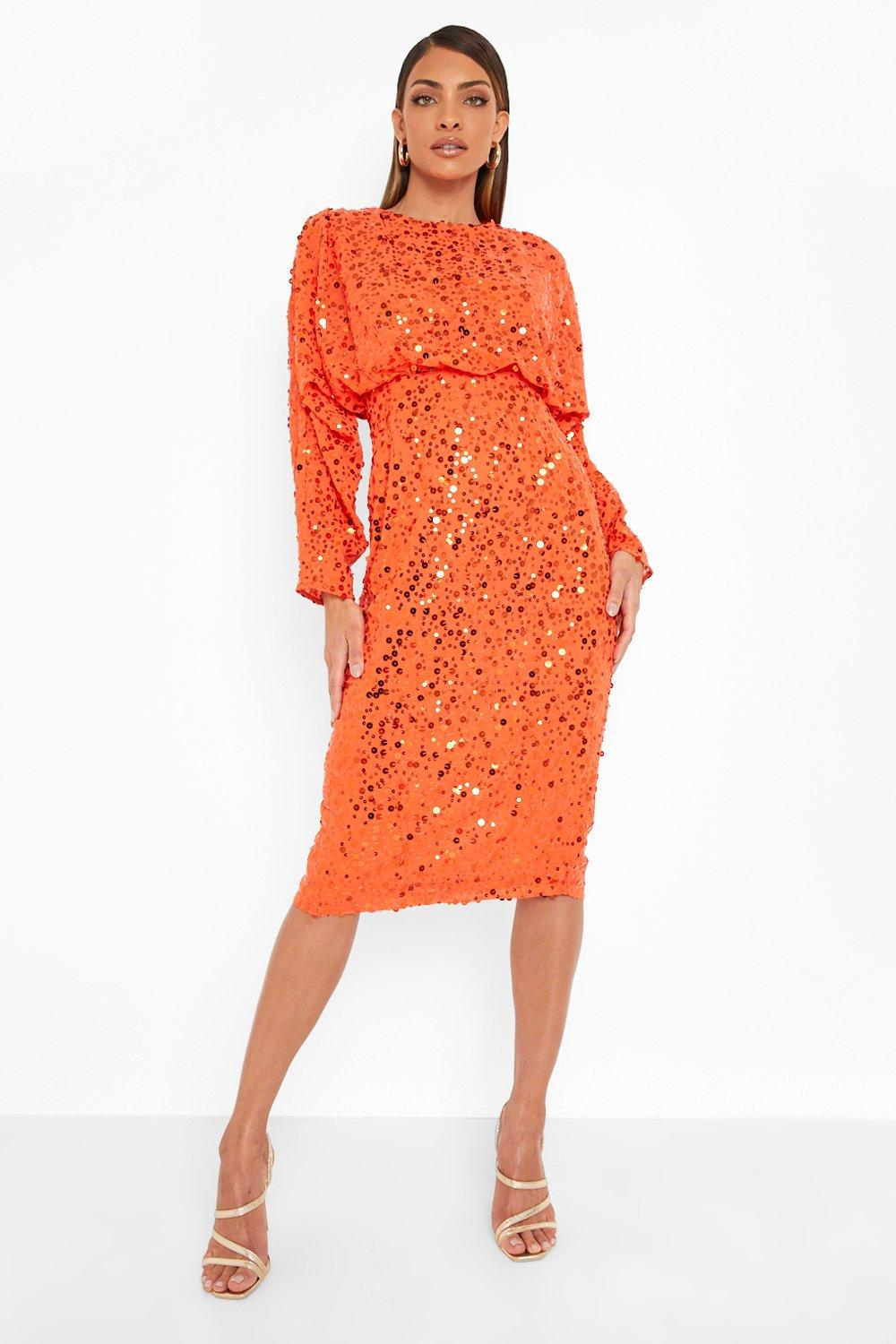 70s Disco Fashion: Disco Clothes, Outfits for Girls Womens Sequin Batwing Midi Dress - Orange - 14 $40.00 AT vintagedancer.com