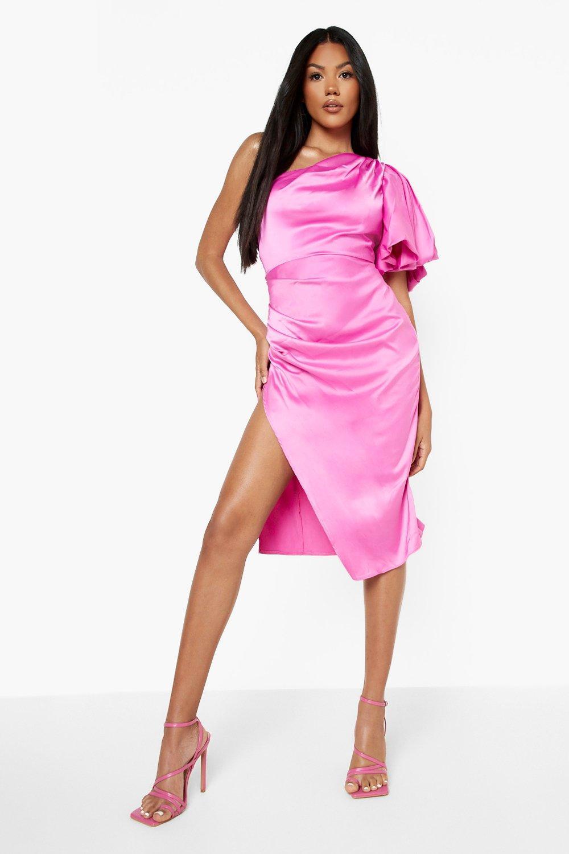 80s Dresses | Casual to Party Dresses Womens Puff One Shoulder Side Split Midi Dress - Pink - 14 $32.00 AT vintagedancer.com