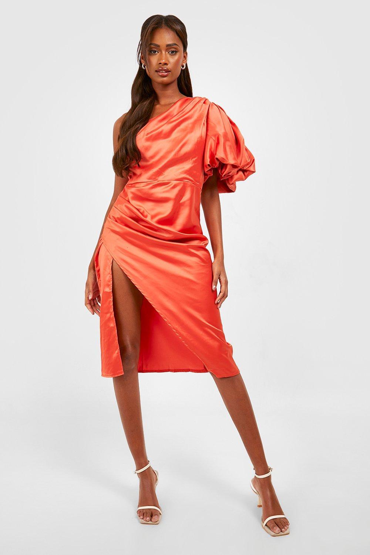 1980s Clothing, Fashion | 80s Style Clothes Womens Puff One Shoulder Side Split Midi Dress - Orange - 14 $32.00 AT vintagedancer.com