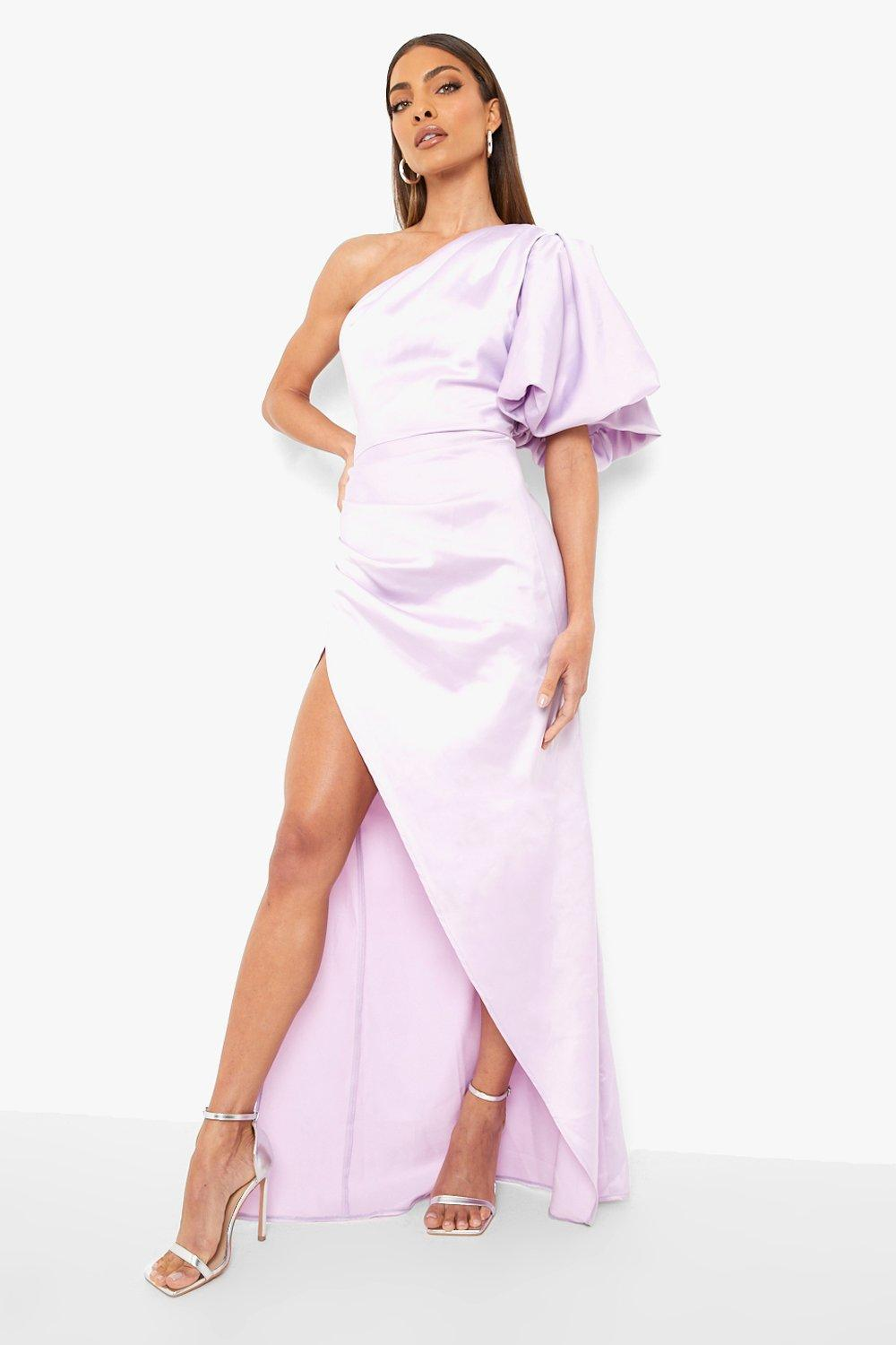 1980s Clothing, Fashion | 80s Style Clothes Womens Puff One Shoulder Side Split Maxi Dress - Purple - 14 $40.00 AT vintagedancer.com