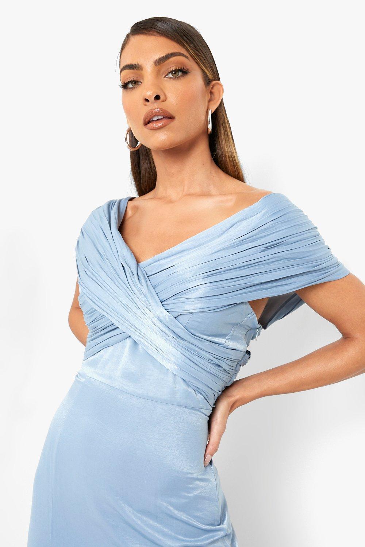 80s Prom Dresses – Party, Cocktail, Bridesmaid, Formal Womens One Shoulder Split Maxi Bridesmaid Dress - Blue - 14 $40.00 AT vintagedancer.com