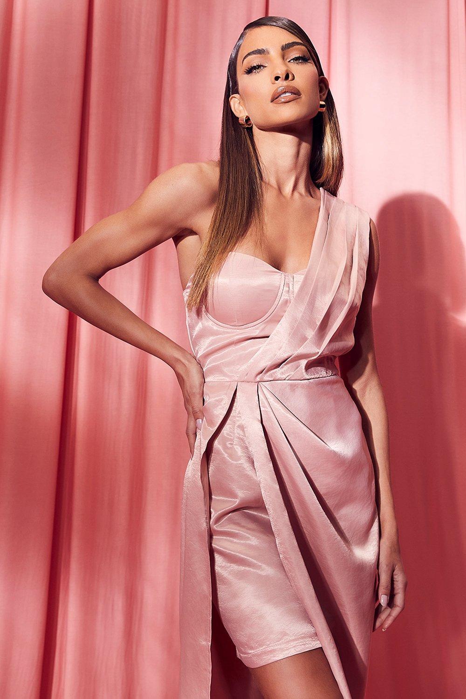 80s Fashion— What Women Wore in the 1980s Womens One Shoulder Drape Midi Dress - Orange - 14 $32.00 AT vintagedancer.com