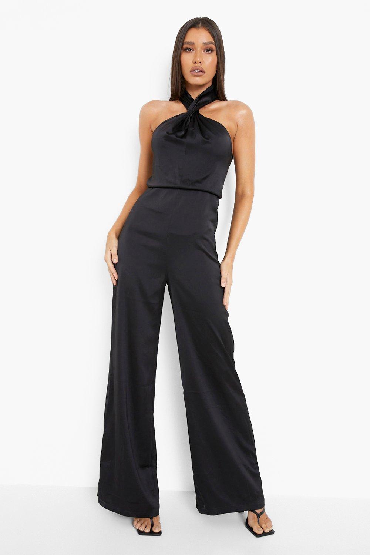 70s Jumpsuit   Disco Jumpsuits, Sequin Rompers Womens Satin Halterneck Twist Wide Leg Jumpsuit - Black - 14 $35.00 AT vintagedancer.com