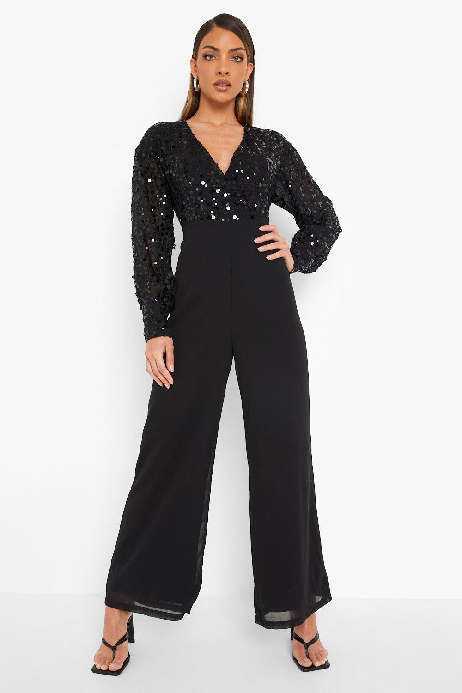 70s Jumpsuit   Disco Jumpsuits, Sequin Rompers Womens Sequin Wrap Cullotte Jumpsuit - Black - 12 $32.00 AT vintagedancer.com