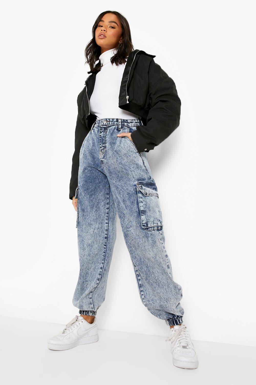 80s Jeans, Pants, Leggings | 90s Jeans Womens Acid Wash Pocket Elasticated Cuff Jogger - Blue - 12 $22.40 AT vintagedancer.com