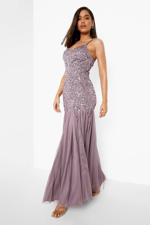 Vintage Evening Dresses, Vintage Formal Dresses Womens Bridesmaid Embellished Godet Mesh Maxi Dress - Purple - 14 $240.00 AT vintagedancer.com
