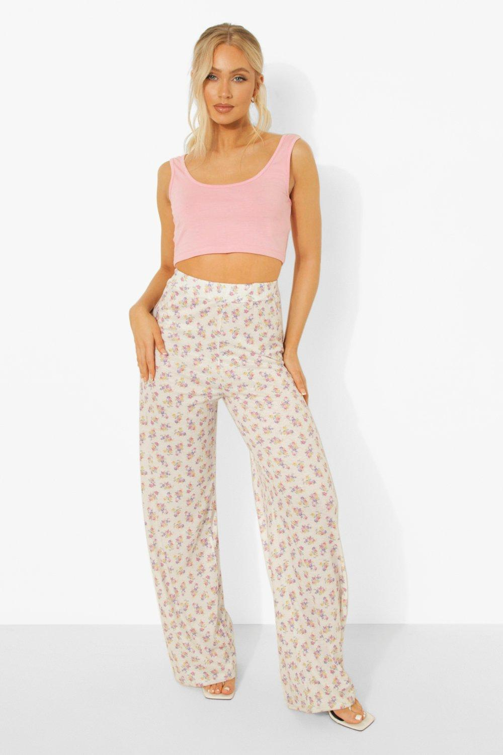 Cottagecore Clothing, Soft Aesthetic Womens Ditsy Floral Wide Leg Pants - White - 12 $14.40 AT vintagedancer.com