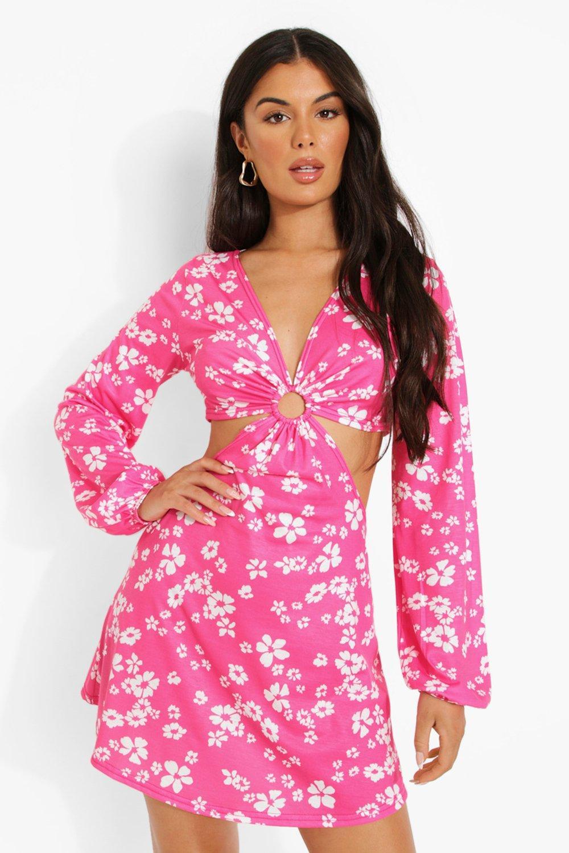 Vintage Style Dresses | Vintage Inspired Dresses Womens Floral Cut Out Twist Skater Dress - Pink - 14 $16.20 AT vintagedancer.com