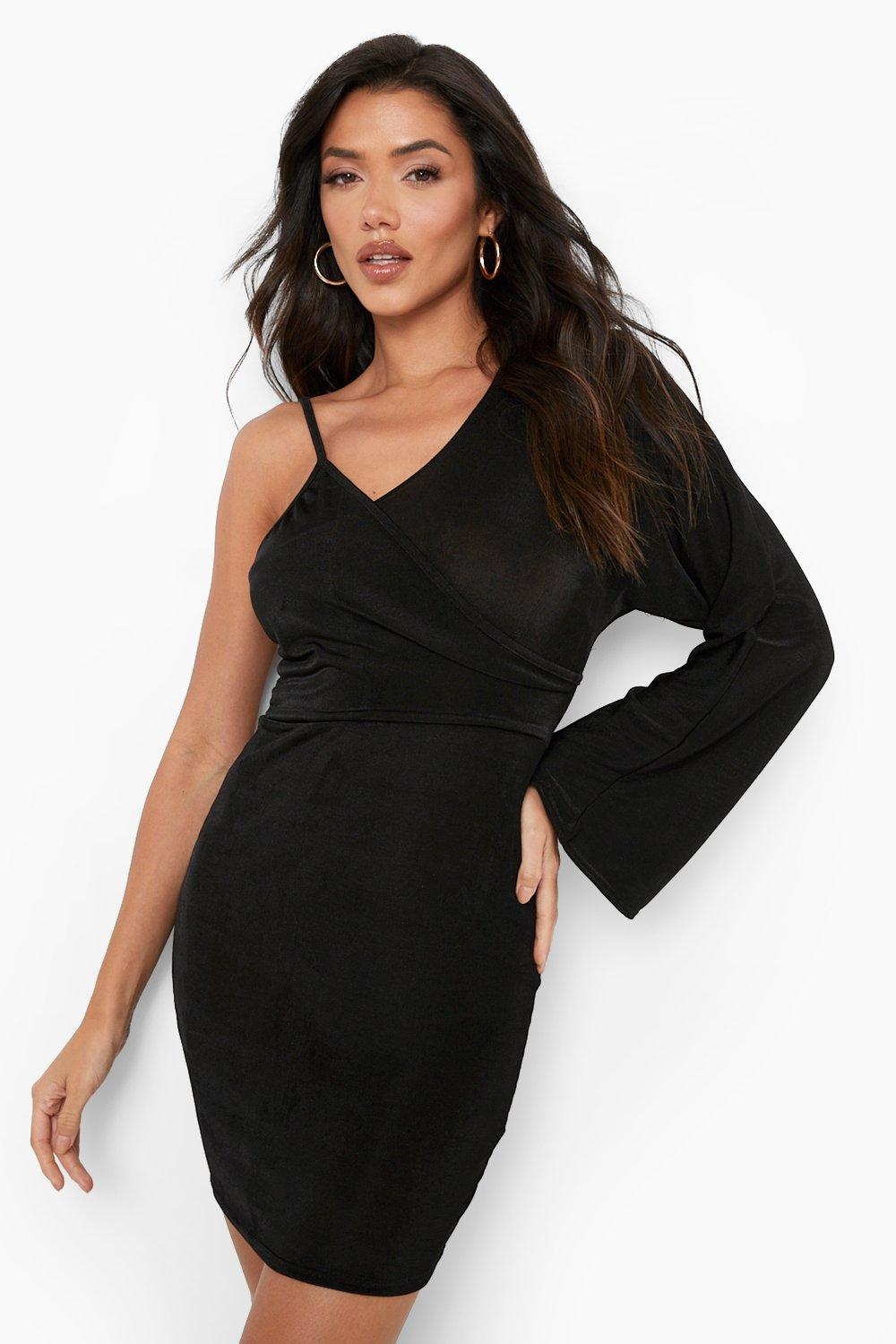80s Fashion— What Women Wore in the 1980s Womens Slinky One Shoulder Bodycon Mini Dress - Black - 10 $20.00 AT vintagedancer.com