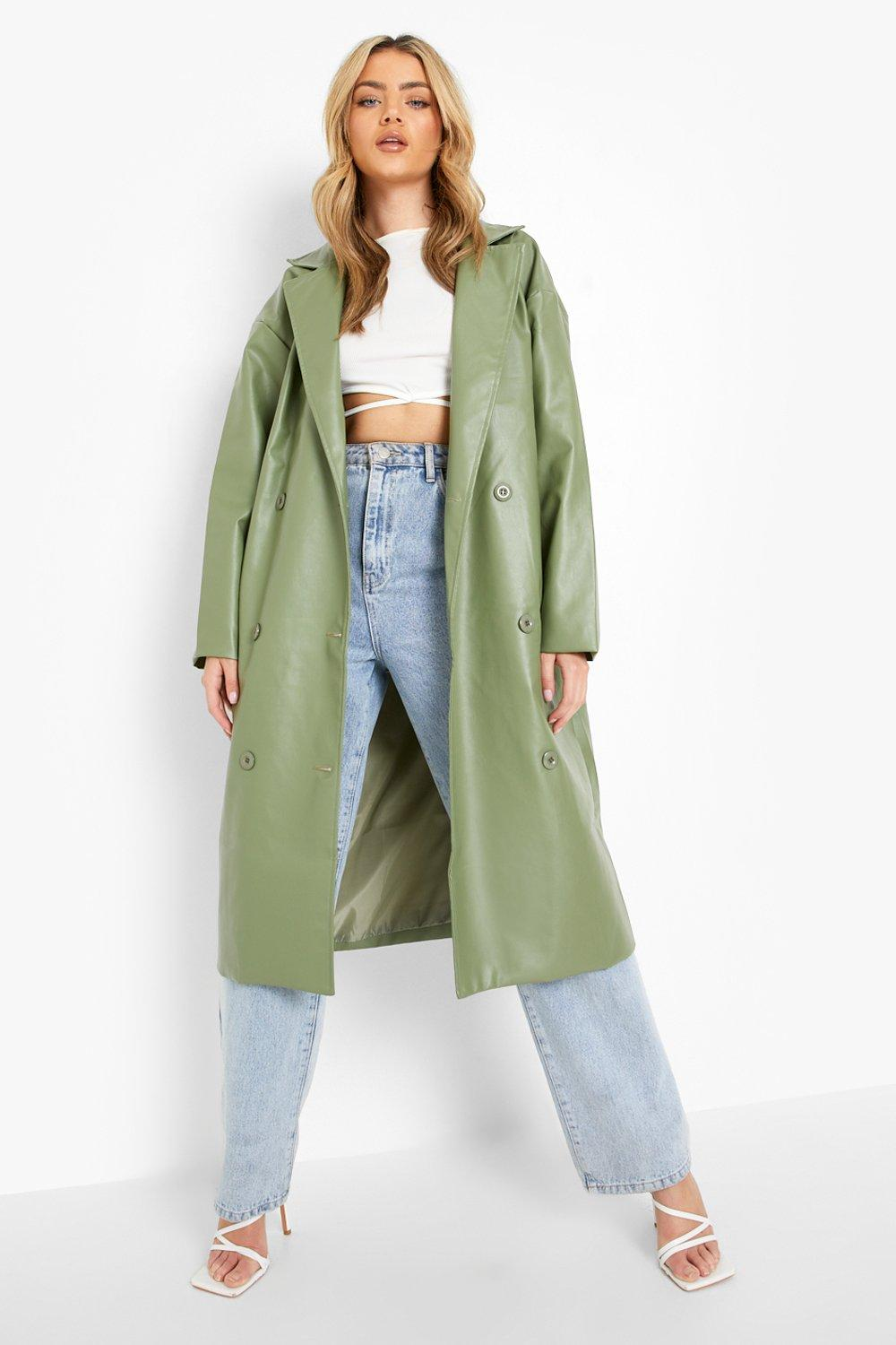70s Jackets, Furs, Vests, Ponchos Womens Faux Leather Trench Coat - Green - 12 $100.00 AT vintagedancer.com