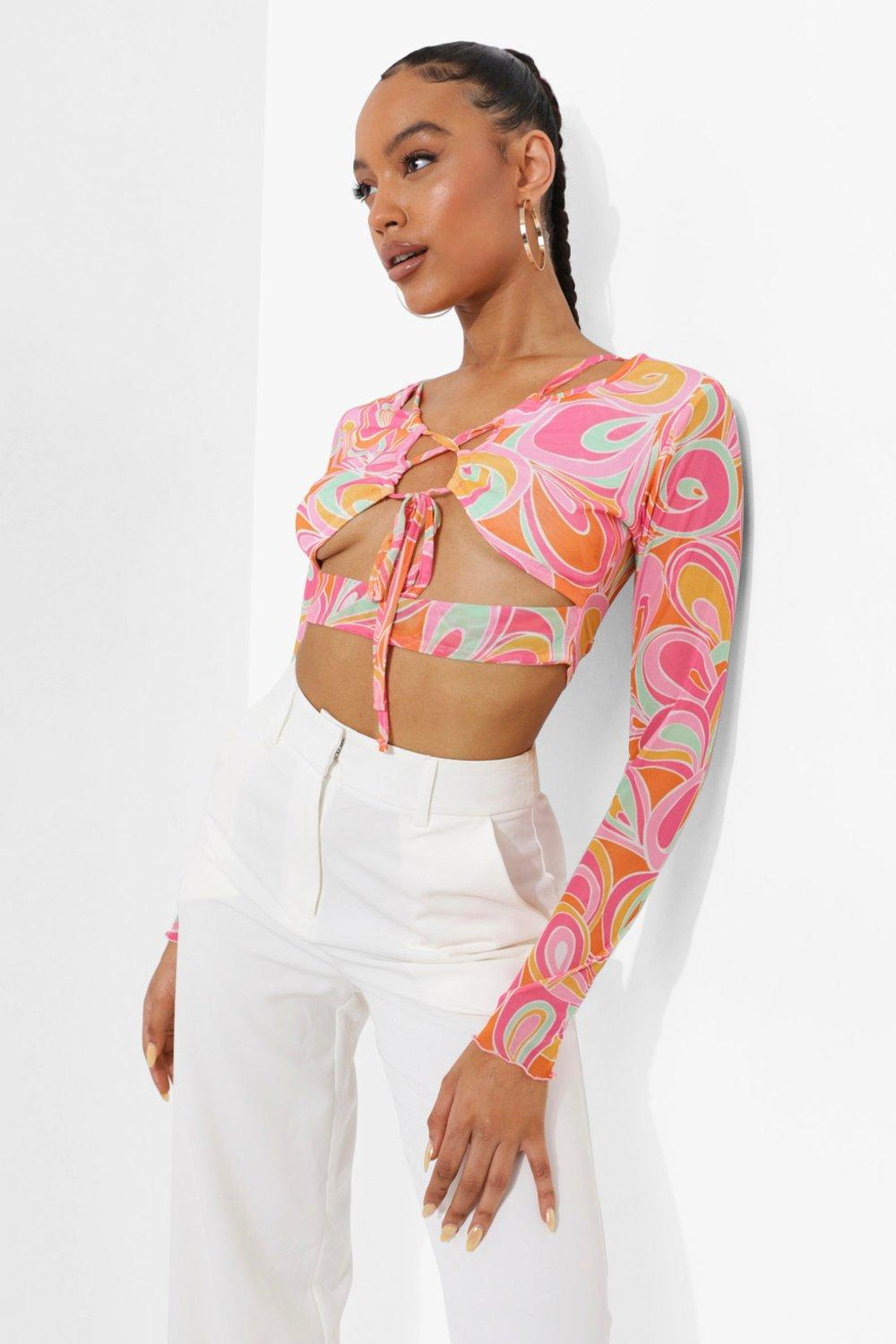 60s Shirts, T-shirts, Blouses, Hippie Shirts Womens Abstract Printed Lace Up Mesh Top - Pink - 12 $16.20 AT vintagedancer.com
