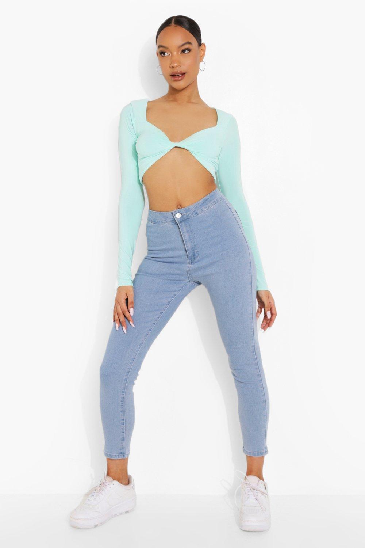 70s Clothes   Hippie Clothes & Outfits Womens High Rise Super Stretch Disco Jeans - Blue - 12 $30.00 AT vintagedancer.com