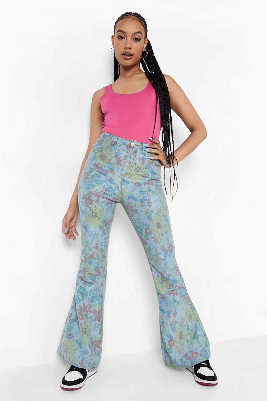 60s Pants, Jeans, Hippie, Flares, Jumpsuits Womens Vintage Floral Flared Denim Jeans - Blue - 12 $60.00 AT vintagedancer.com