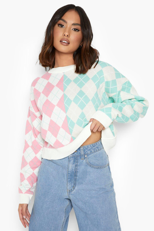 1980s Clothing, Fashion | 80s Style Clothes Womens Colour Block Argyle Flannel Sweater - Pink - M $12.00 AT vintagedancer.com