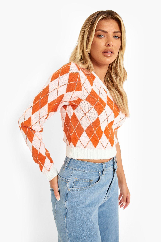 1960s Style Clothing & 60s Fashion Womens Argyle Knitted Sleeveless Asymmetrical Sweater - Orange - M $12.00 AT vintagedancer.com