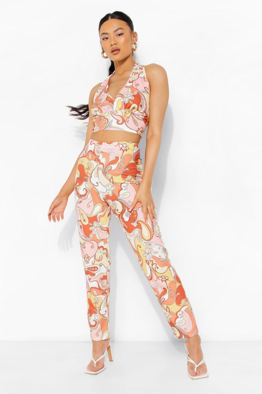 60s Pants, Jeans, Hippie, Flares, Jumpsuits Womens Retro Print Halter Crop  Slim Fit Pants - Orange - 12 $19.80 AT vintagedancer.com