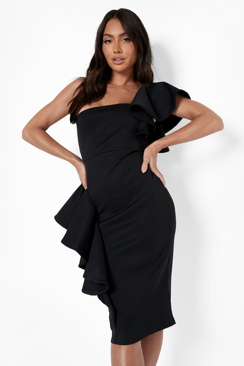 1980s Clothing, Fashion | 80s Style Clothes Womens One Shoulder Extreme Ruffle Detail Midi Dress - Black - 14 $50.00 AT vintagedancer.com