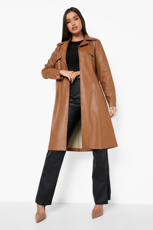 70s Jackets, Furs, Vests, Ponchos Womens Longline Belted Faux Leather Trench Coat - Beige - 10 $30.40 AT vintagedancer.com