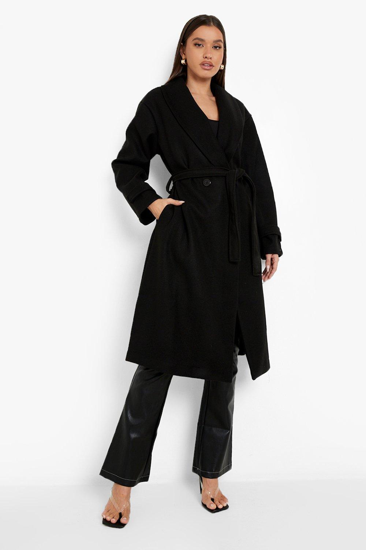 Vintage Coats & Jackets | Retro Coats and Jackets Womens Belted Wool Look Robe Coat - Black - 12 $33.60 AT vintagedancer.com